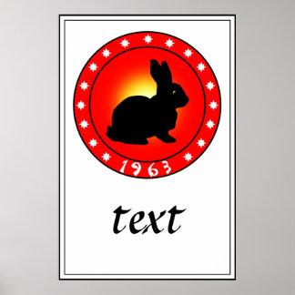 1963 años del conejo póster