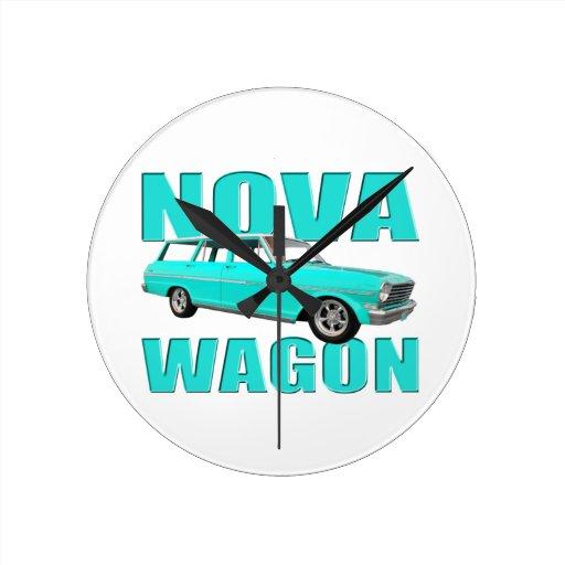 1963 chevy II nova wagon light blue Round Clock