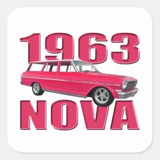 1963 chevy II nova wagon red Square Sticker