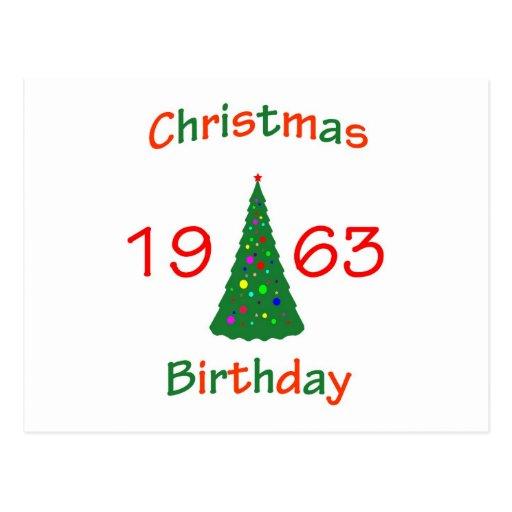 1963 Christmas Birthday Postcard