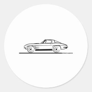 1963 Corvette Sting Ray Split Window Coupe Classic Round Sticker