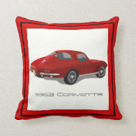 1963 Corvette Stingray Split Window Throw Pillow