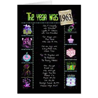 1963 datos divertidos del cumpleaños tarjeta de felicitación