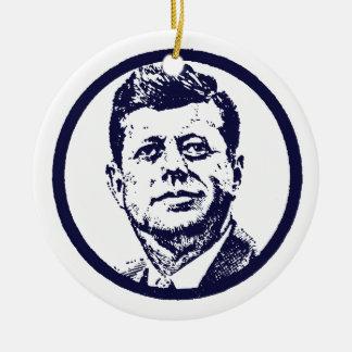 1963 JFK Double-Sided CERAMIC ROUND CHRISTMAS ORNAMENT