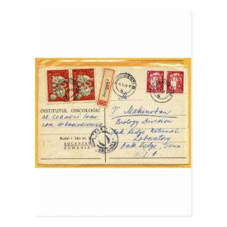 1963 - Oncology Romania to Oak Ridge Lab, USA Postcard