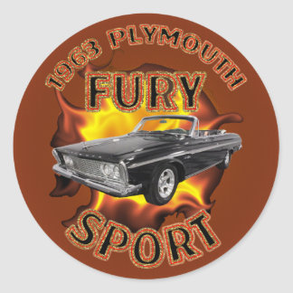 1963 Plymouth Fury Sport Sticker. Classic Round Sticker