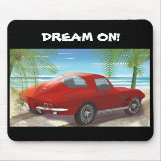 1963 Red Corvette Stingray Beach Scene Mousepad