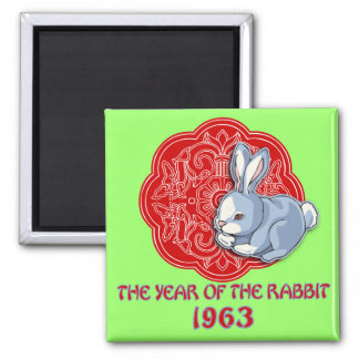 1963 The Year of the Rabbit Gifts 2 Inch Square Magnet