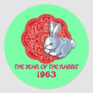 1963 The Year of the Rabbit Gifts Round Sticker