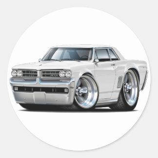 1964 GTO White Car Classic Round Sticker