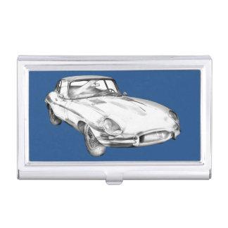 1964 Jaguar XKE Antique Sports Car Illustration Business Card Holders
