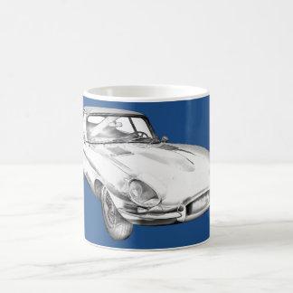 1964 Jaguar XKE Antique Sports Car Illustration Coffee Mug