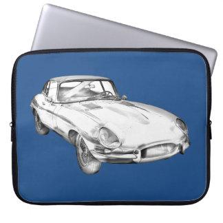 1964 Jaguar XKE Antique Sports Car Illustration Laptop Sleeve