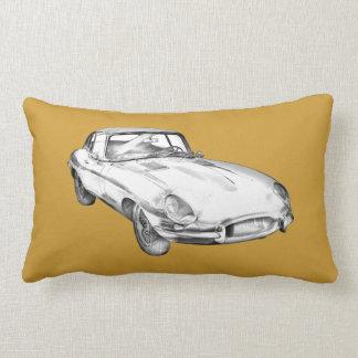 1964 Jaguar XKE Antique Sports Car Illustration Lumbar Pillow