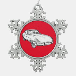 1964 Jaguar XKE Antique Sports Car Illustration Ornaments