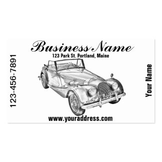 1964 Morgan Plus 4 Sports Car Illustration Business Card
