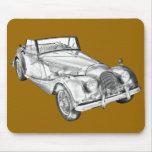 1964 Morgan Plus 4 Sports Car Illustration Mousepad