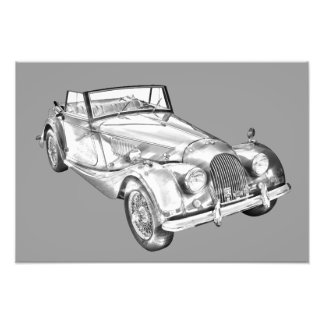 1964 Morgan Plus 4 Sports Car Illustration Photograph