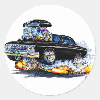 1964 Plymouth Fury Black Car Round Stickers