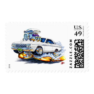 1964 Plymouth White Car Postage Stamp