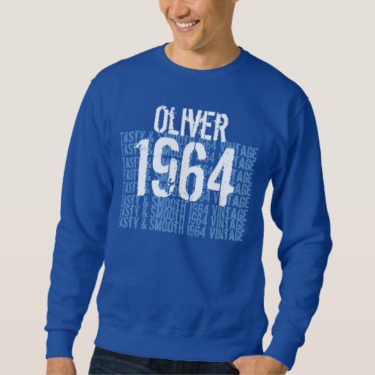 1964 Vintage Birthday Blue and White Custom Name Sweatshirt