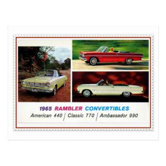 1965 American classic car Rambler convertible Postcard