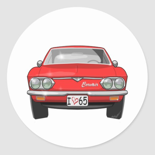 1965 Chevrolet Corvair Front View Classic Round Sticker