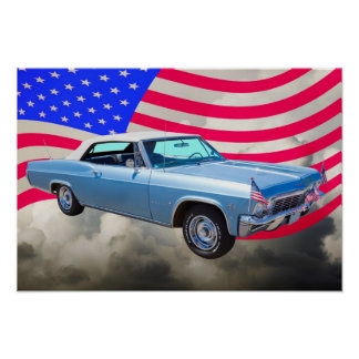 1965 Chevy Impala 327 With American Flag Poster