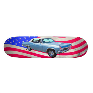 1965 Chevy Impala 327 With American Flag Skateboard Deck