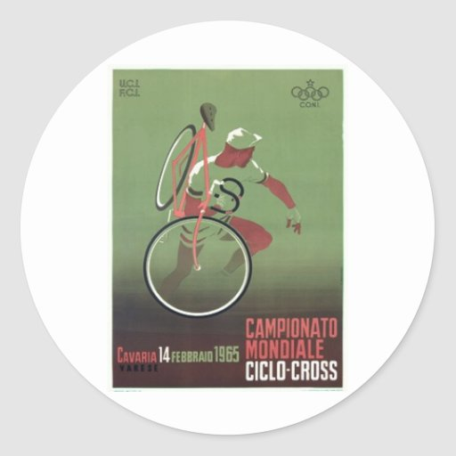 1965 Ciclo-cross Poster Round Sticker