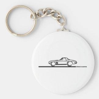 1965 Corvette Stingray Hardtop BLK Basic Round Button Keychain