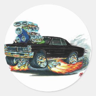 1965 GTO Black Car Classic Round Sticker