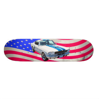 1965 Mustang with American Flag Skateboards