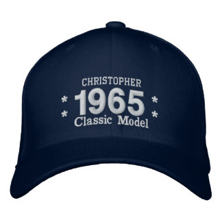 1965 or Any Year 50th Birthday A4Q BLUE and WHITE Cap