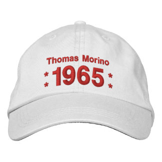1965 or Any Year 50th Birthday A7P WHITE and RED Embroidered Hat