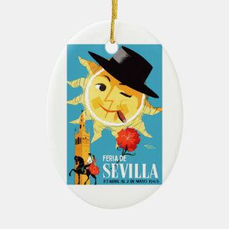 1965 Seville Spain April Fair Poster Ceramic Ornament