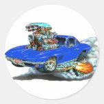 1966-67 Corvette Blue Car Round Stickers