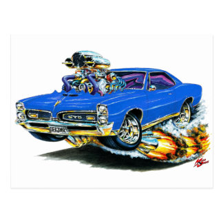 1966-67 GTO Blue Car Postcard