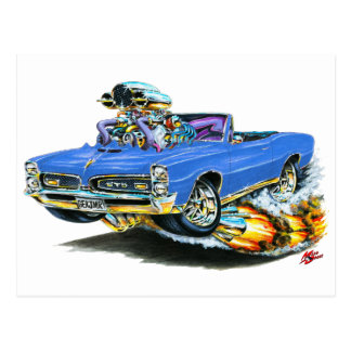 1966-67 GTO Blue Convertible Postcard