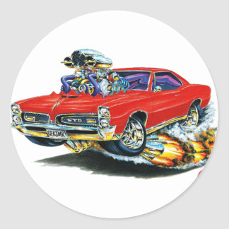 1966-67 GTO Red Car Classic Round Sticker