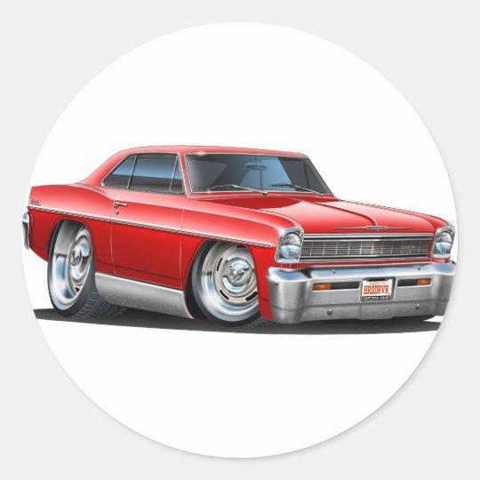 1966-67 Nova Red Car Classic Round Sticker
