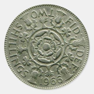 1966 British two shilling sticker