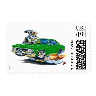 1966 Chevelle Green Car Postage Stamp