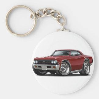 1966 Chevelle Maroon Car Basic Round Button Keychain