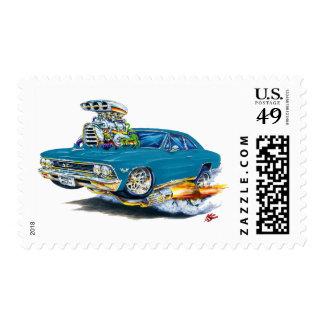 1966 Chevelle Teal Car Postage Stamps
