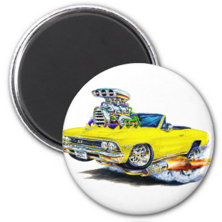 1966 Chevelle Yellow Convertible 2 Inch Round Magnet