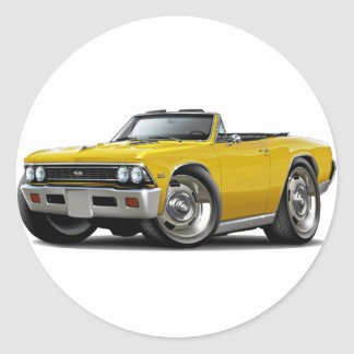 1966 Chevelle Yellow Convertible Classic Round Sticker