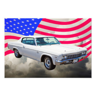 1966 Chevrolet Caprice With American Flag Photo Print