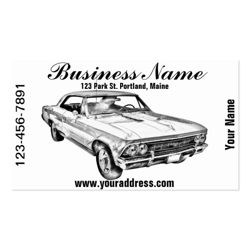 1966 chevy chevelle ss 396 illustration business card