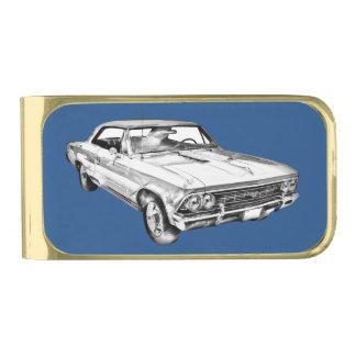 1966 Chevy Chevelle SS 396 Illustration Gold Finish Money Clip